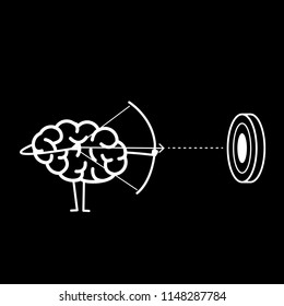 Brain archer aiming target. Vector concept illustration of mind focusing on goal | flat design linear infographic icon white on black background