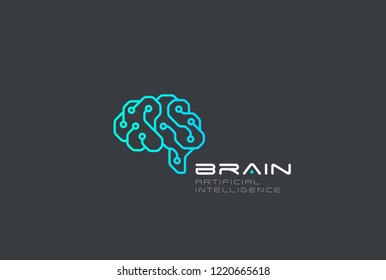 Brain Artificial Intelligence Logo design vector template Linear style. AI technology Brainstorm Logotype concept.
