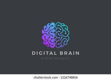 Brain Artificial Intelligence Logo design vector template Linear style. AI technology Brainstorm Logotype concept.