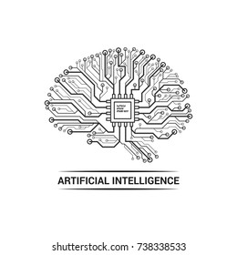 Brain artificial intelligence logo. Vector illustration isolated on a white background.