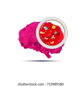 Brain with bacteria. Brain Infection concept - vector illustration