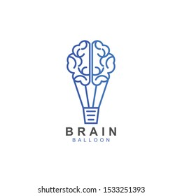 Brain balloon logo design. Brain with air balloon combination creative logo design