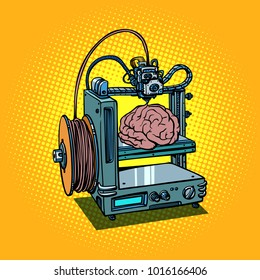 brain biotechnology and medicine printing of human organs 3D printer manufacturing. Comic book cartoon pop art retro illustration vector