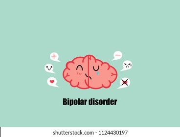brain  bipolar disorders cartoon vector. psychiatry disorders.