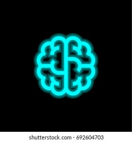 Brain blue glowing neon ui ux icon. Glowing sign logo vector