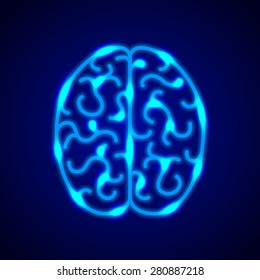 Brain from blue neon lines photo realistic vector background