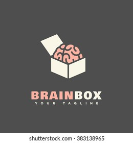 Brain box logo template design. Vector illustration.