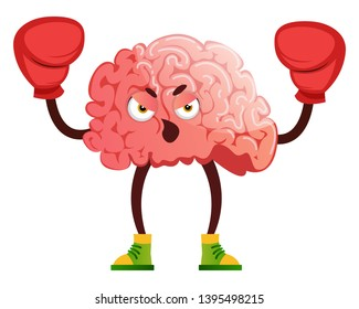 Brain is boxing, illustration, vector on white background.