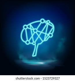 Brain, brainstorming neon vector icon. Blue neon, Business neon vector icon.