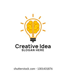brain bulb icon symbol design. creative idea logo designs template