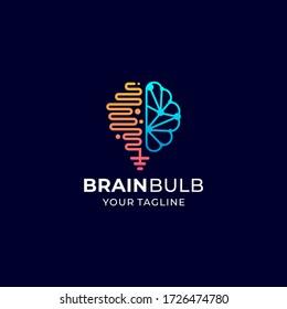 brain bulb logo vector design template