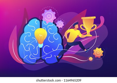 Brain with bulb and user runs carrying cup. Challenge and move for success, confidence and winning competition, motivation and goals achievement concept. Vector illustration on ultraviolet background.