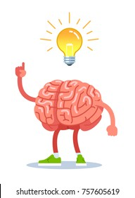 Brain came up with an idea, the finger shows on a light bulb. Modern flat style thin line vector illustration isolated on white background.