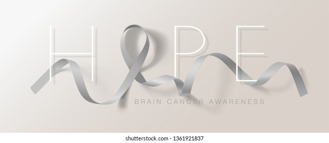 Brain Cancer Awareness Calligraphy Poster Design. Hope Realistic Grey Ribbon. May is Cancer Awareness Month. Vector