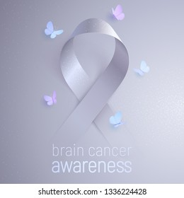 Brain cancer awareness. Light gray realistic vector ribbon appears from the dark tinted backdrop. Five butterflies circling around the sign. Modern sticker for volunteers and brain tumor survivors