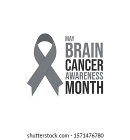 Brain cancer awareness month realistic grey vector image. Grey ribbon brain cancer awareness month poster vector image