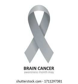 Brain Cancer Grey Ribbon Vector