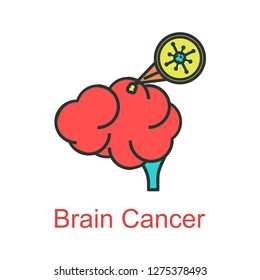 brain cancer icon flat color
