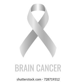 Brain cancer ribbon isolated on white background