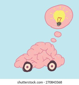 Brain car free hand drawing vector show thinking move to idea.