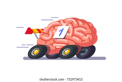 Brain as a car. Quickly thinks, always the first. Great intelligence. Modern flat style thin line vector illustration isolated on white background.