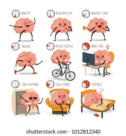 Brain cartoon character, daily activities vector illustration, daily schedule, eps 10