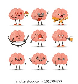 Brain cartoon character set, emotions vector illustration, emotion icons, eps 10  vector