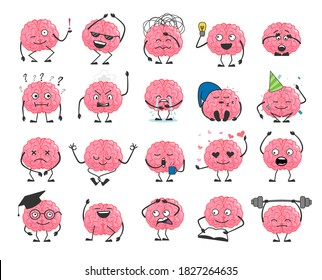Brain cartoon character set with happy face smile. Cute hero brain emoji isolated on white background. Brainpower avatar with different emotion and face expression vector illustration