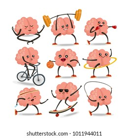 Brain cartoon character vector set. Healthy and fitness. Brain activities. Sport icons set. Vector illustration, eps 10 vector