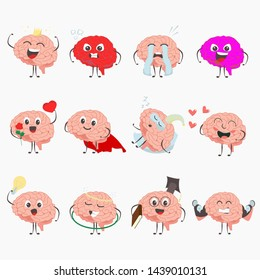 Brain cartoon characters making sport exercises and different activities design vector