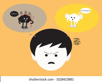 brain cartoon characters vector illustration image showing how confused emotion when brain angel and devil debating by using wording about goodness and badness (conceptual image about human morality)