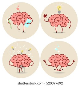 Brain cartoon, different characters. Vector isolated set of images