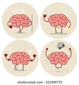 Brain cartoon, different types of victories. Vector isolated set of images