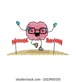 brain cartoon with glasses running and passing the finish line with funny expression in colored crayon silhouette