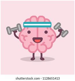 Brain Cartoon Lifting Dumbbells Vector Illustration