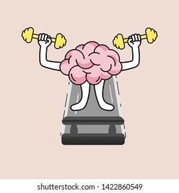 Brain cartoon lifting dumbell and walking on treadmill. Developing growth mindset concept. Vector illustration outline flat design style.