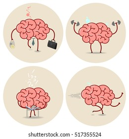 Brain cartoon vector isolated image set