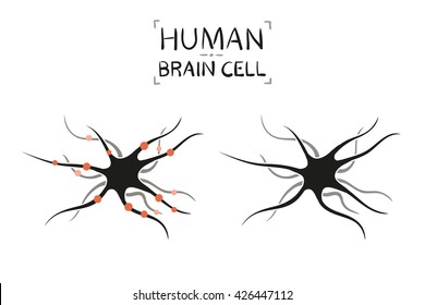 Brain cell - vector illustration, isolated on white background