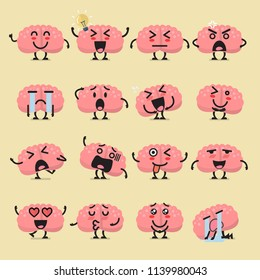 Brain character emoji set. Funny cartoon emoticons
