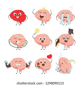 Brain characters making sport exercises and different activities design