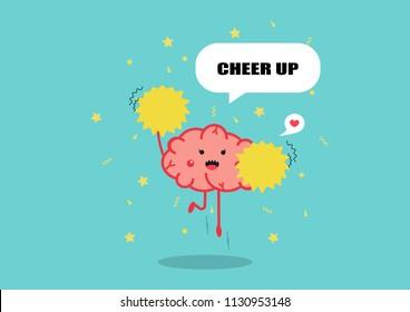 brain cheerleader cartoon vector.funny mind concept.healthy mind