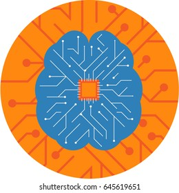 Brain Chip embedded inside a Brain. Circuit Board Brain Chip technology Vector Icon.