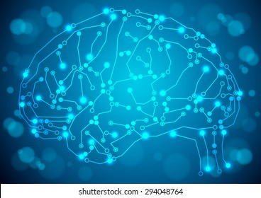 Brain with circuit board texture. Digital concept. Digitally background