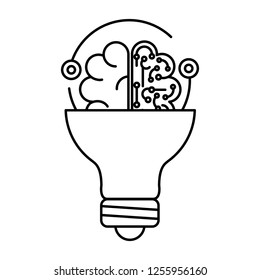 brain with circuit and bulb