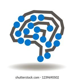 Brain Circuit Icon Vector. AI micro chip logo. Computing machine learning logo.