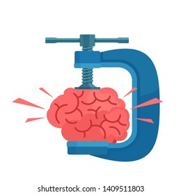 The brain is clamped. Headache, stress, tension concept. Brainstorming concept. Vector illustration, isolated white background. Flat cartoon style.