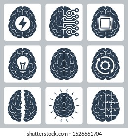 Brain and Cognitive Function Related Vector Icon Set