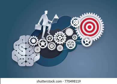 Brain with Cogwheel Gears in progress, Businessman holding flag walking on gears and target. Concept of thinking for development Business, brainstorm, Creative idea, Paper art vector and illustration