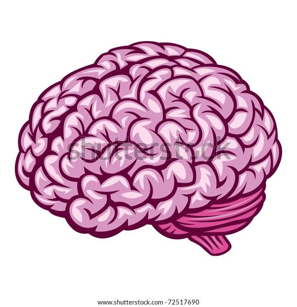 Brain. Comics Drawing. Vector Illustration
