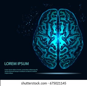 The brain is composed of points, lines and triangles. The polygon shape in the form of artificial intelligence on a dark background. Vector illustration. Graphic concept of the brain.